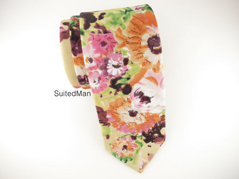 Floral Tie, Autumn Watercolor