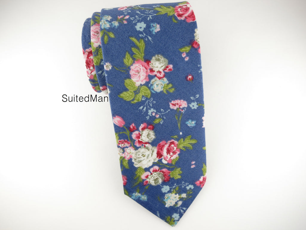 Floral Tie, Blue English Rose - SuitedMan