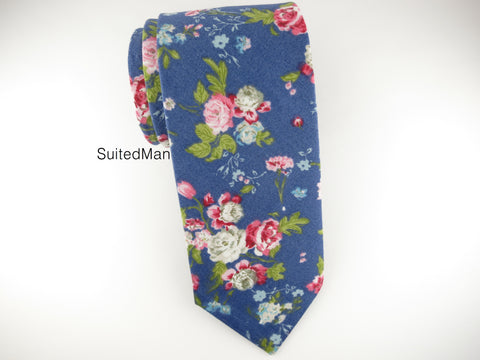 Floral Tie, Blue English Rose