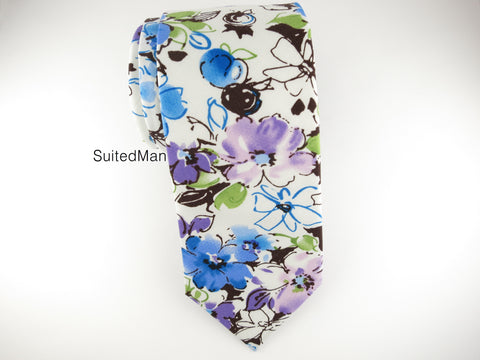 Floral Tie, Blue Lavender Watercolor