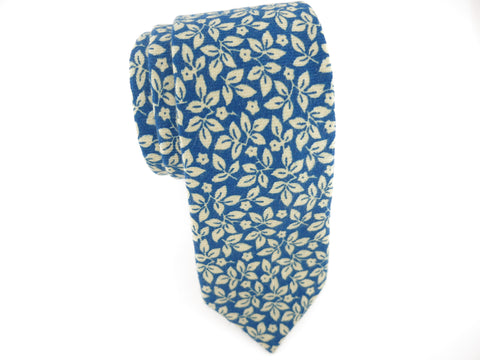 Floral Tie, Blue Leaves