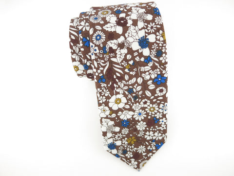 Floral Tie, Chocolate/Gold Floral