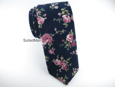 Floral Tie, Dark Navy Vintage English Rose