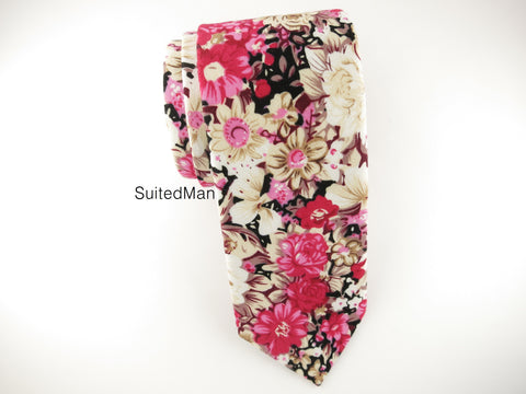 Floral Tie, Fuchsia Floral