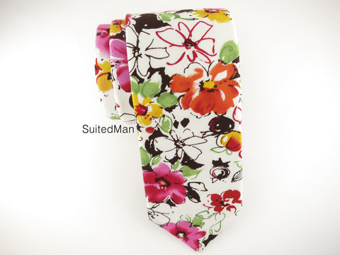 Floral Tie, Fuchsia Watercolor - SuitedMan