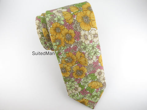 Floral Tie, Golden Poppy - SuitedMan