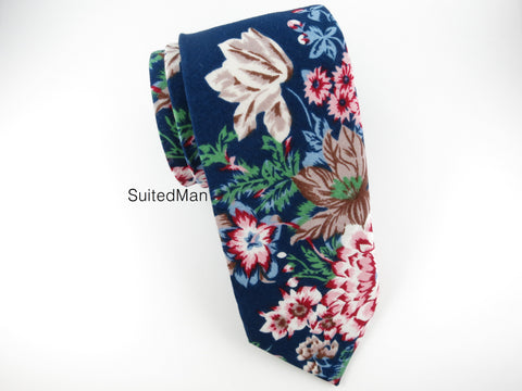 Floral Tie, Navy Antique Peonies - SuitedMan