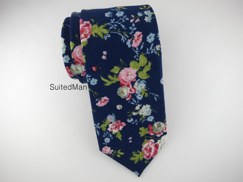 Floral Tie, Navy English Rose - SuitedMan