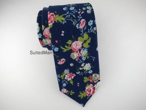 Floral Tie, Navy English Rose