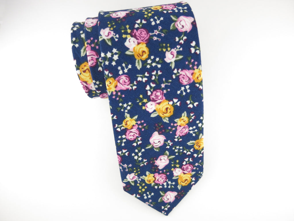 Floral Tie, Navy Rose - SuitedMan