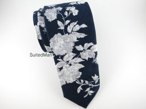 Floral Tie, Midnight Floral Brocade - SuitedMan
