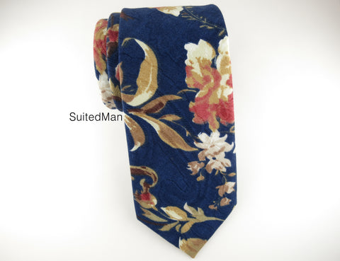 Floral Tie, Navy Scroll