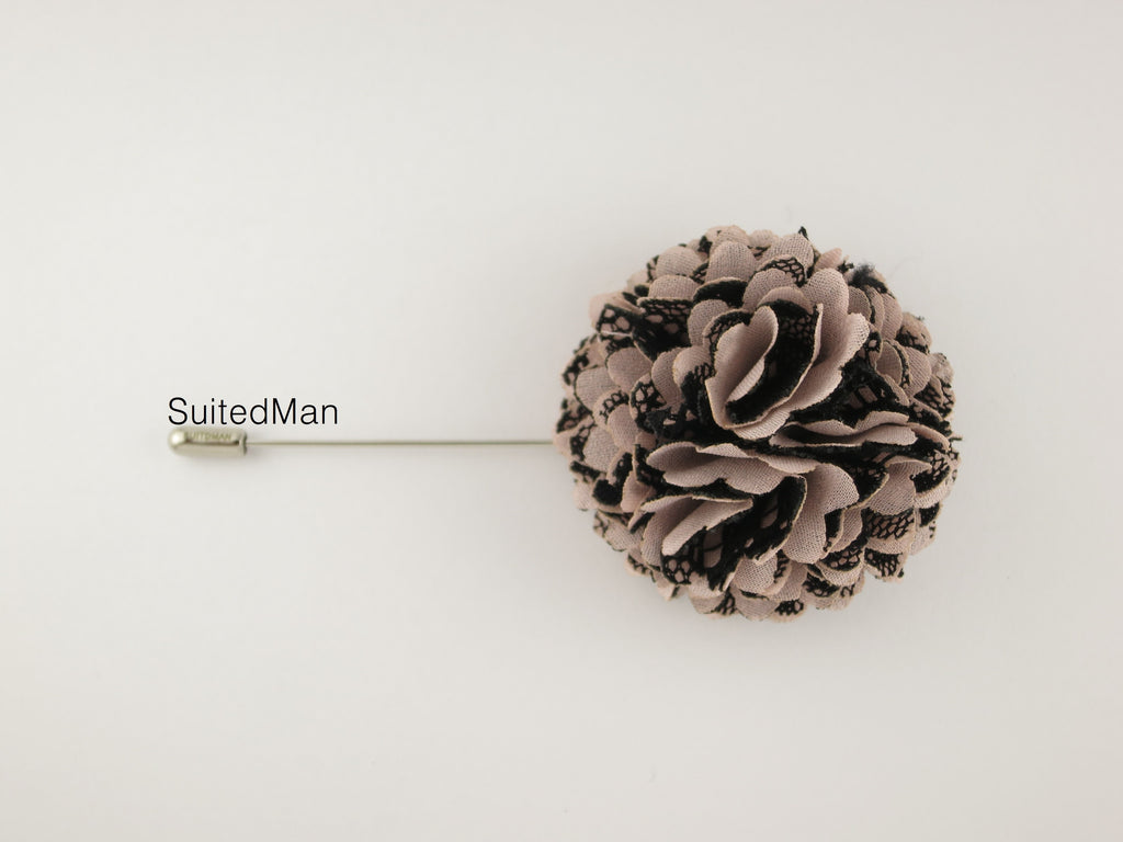 Lapel Flower, Ball, Nude/Black - SuitedMan