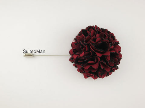 Lapel Flower, Ball, Red/Black
