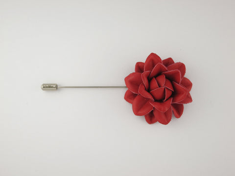 Lapel Flower, Leather Starflower, Red - SuitedMan