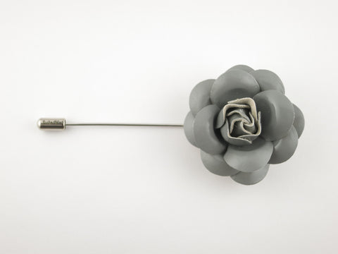 Lapel Flower, Patent Leather Camellia, Gray