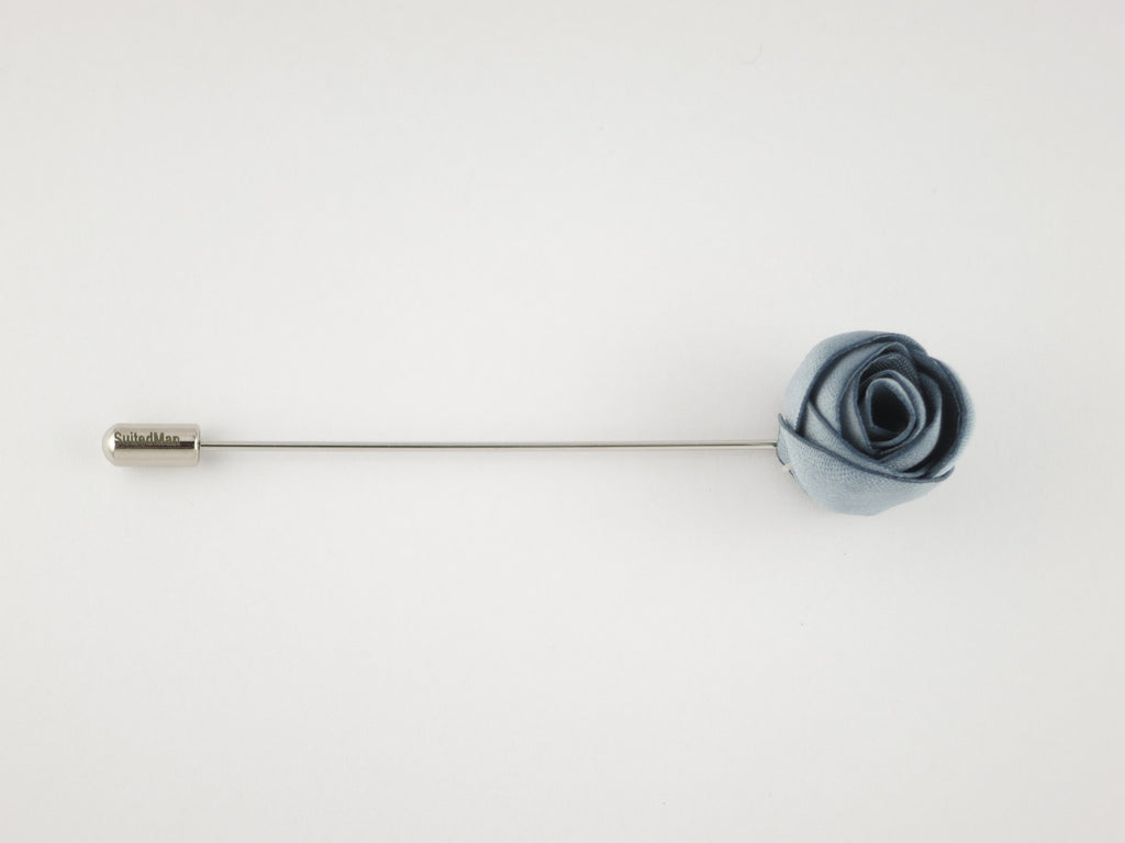 Lapel Flower, Rosebud, Blue - SuitedMan