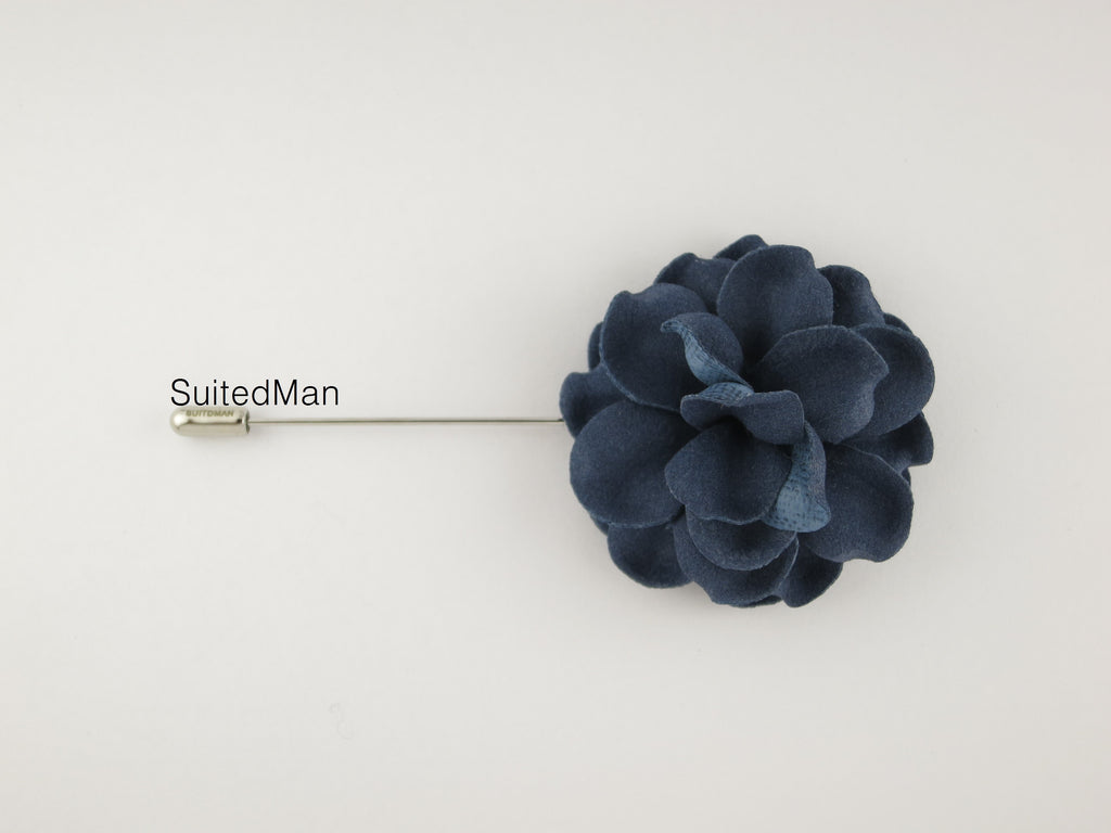 Lapel Flower, Gardenia, Indigo Blue - SuitedMan
