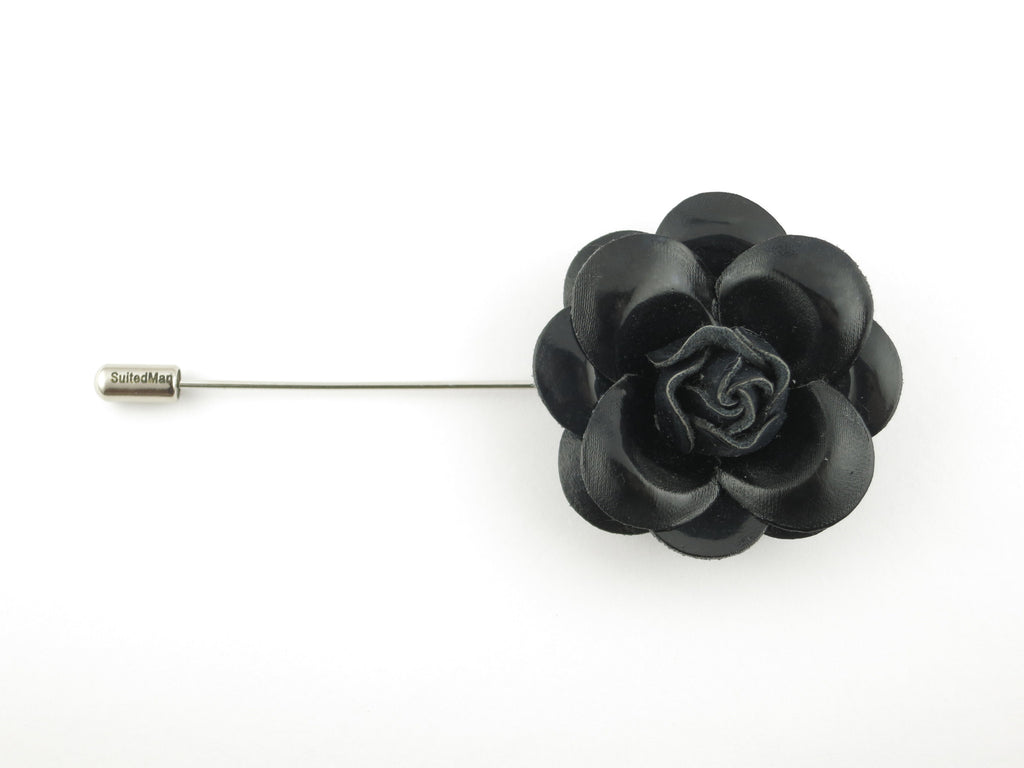 Lapel Flower, Patent Leather Camellia, Black - SuitedMan