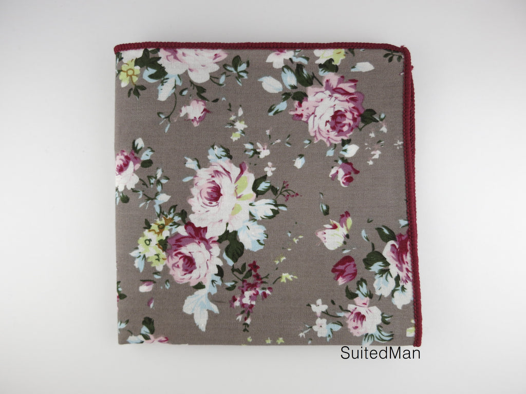 Pocket Square, Mauve Peach Rose - SuitedMan