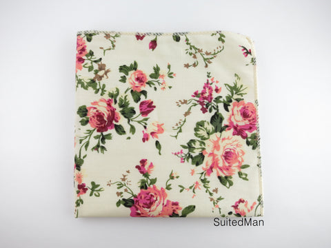 Pocket Square, Vintage Peach Bloom - SuitedMan