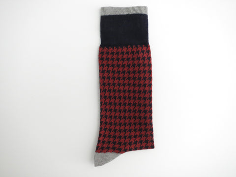 Socks, Houndstooth, Burnt Orange - SuitedMan