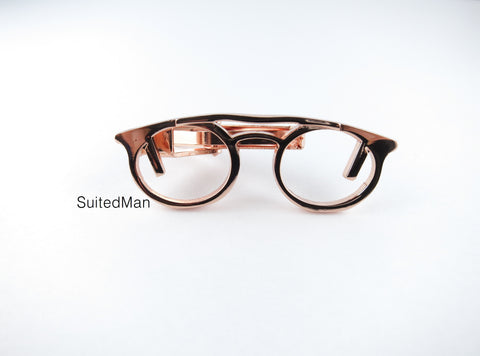 Spectacles Tie Clip, Rose Gold