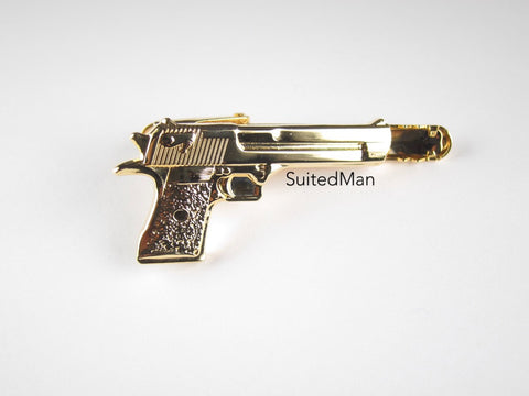 Golden Gun Tie Clip, Shiny - SuitedMan