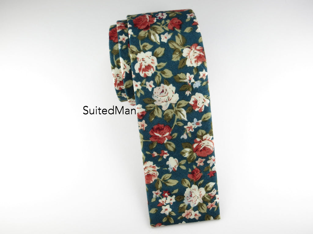 Floral Tie, Antique Rose, Flat End - SuitedMan