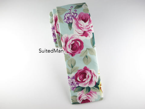Floral Tie, Caribbean Rose, Flat End