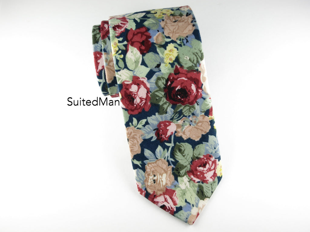Floral Tie, Navy Red - SuitedMan