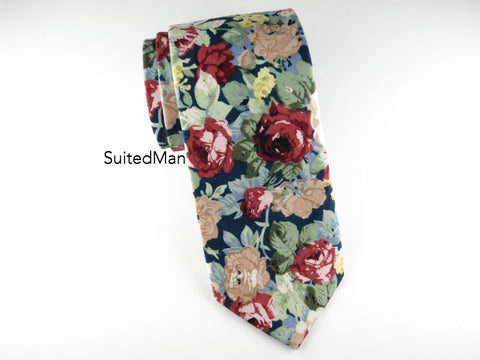Floral Tie, Navy Red