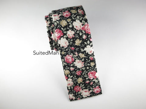 Floral Tie, Rose Noire, Flat End (Limited) - SuitedMan
