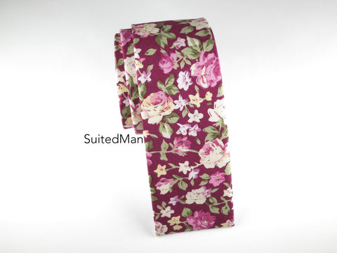 Floral Tie, Violet Rose, Flat End - SuitedMan
