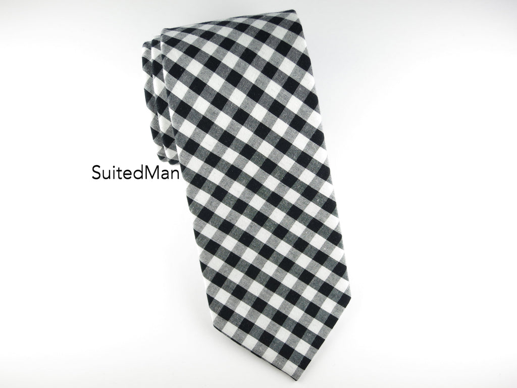Tie, Gingham, Black - SuitedMan