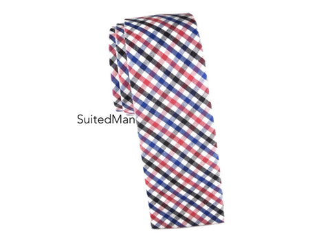 Tie, Gingham, Multicolor, Flat End - SuitedMan