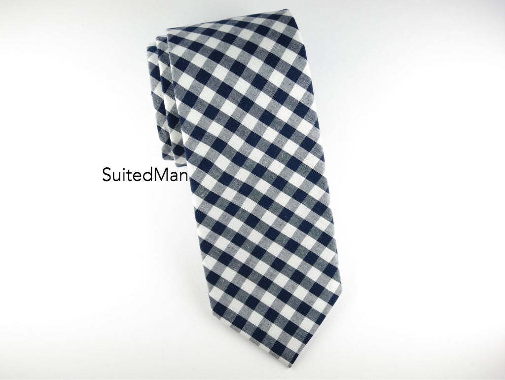 Tie, Gingham, Navy - SuitedMan