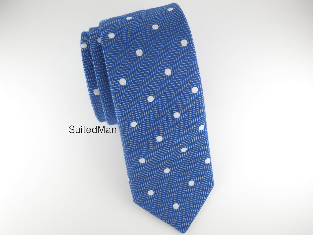 Tie, Herringbone Dots, Blue - SuitedMan