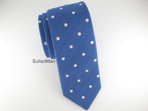 Tie, Herringbone Dots, Blue