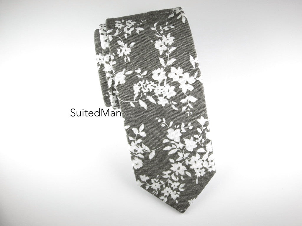 Floral Tie, Gray Floral (Extremely Limited) - SuitedMan