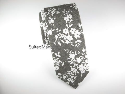 Floral Tie, Gray Floral (Extremely Limited)