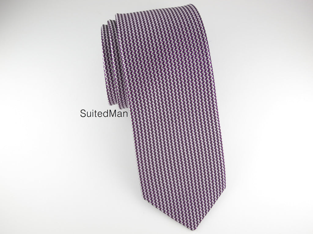 Tie, Micro Chevron, Purple - SuitedMan