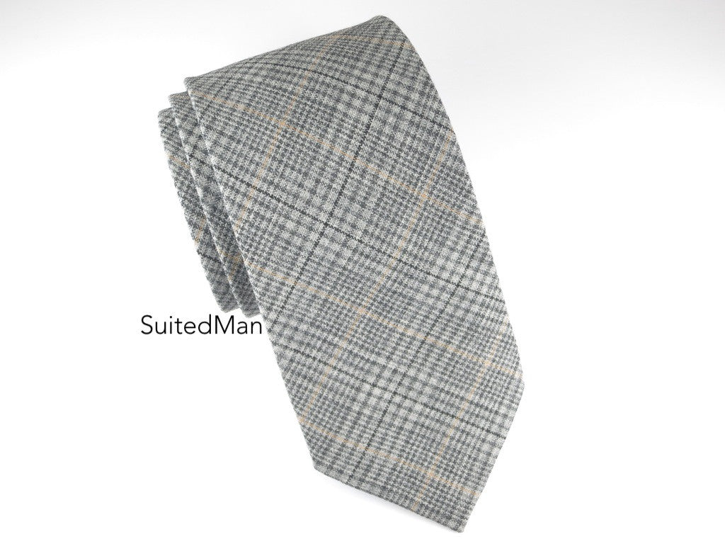 Tie, Plaid, Gray/Tan - SuitedMan