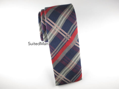 Tie, Plaid, Multicolor, Flat End