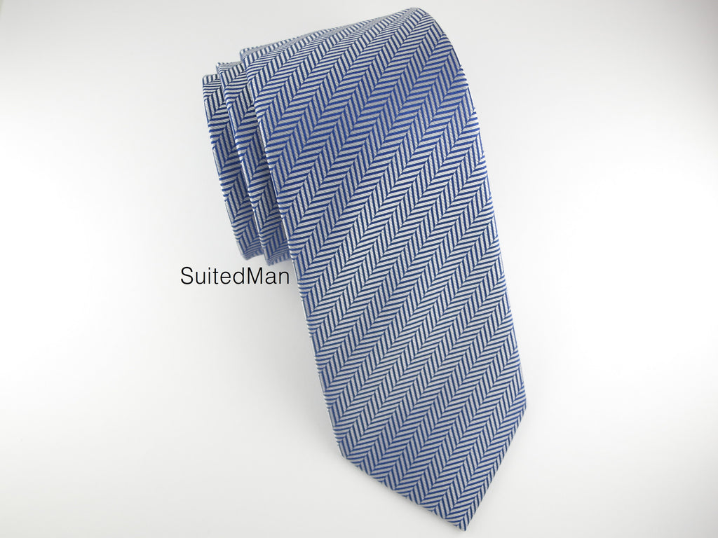 Tie, Herringbone, Blue - SuitedMan