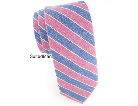Tie, Stripes, Pink/Blue