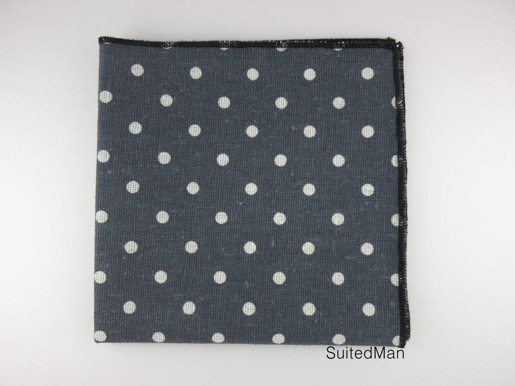 Pocket Square, Dots, Vintage Gray - SuitedMan
