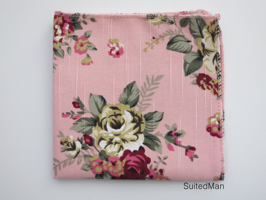 Pocket Square, Vintage Pink Floral en Bloom - SuitedMan