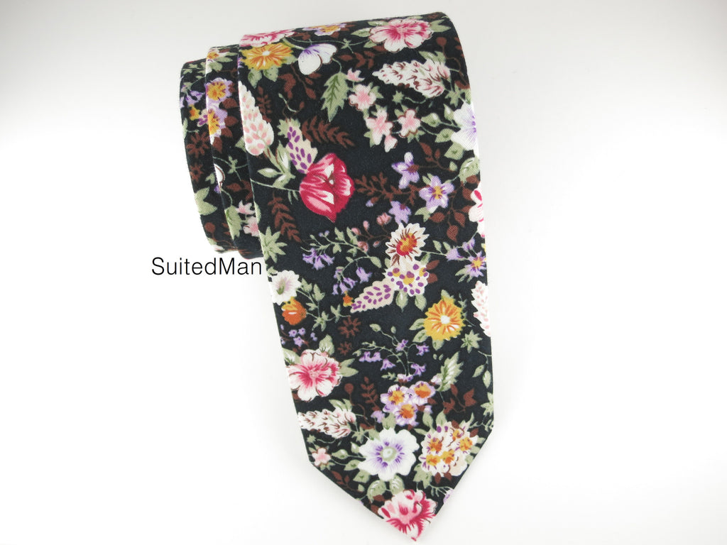 Floral Tie, Vivid Bloom Noir - SuitedMan