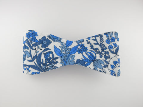 Floral Bow Tie, White Canary, Flat End - SuitedMan
